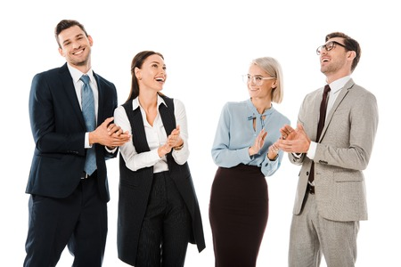 successful cheerful businesspeople celebrating and applauding isolated on white