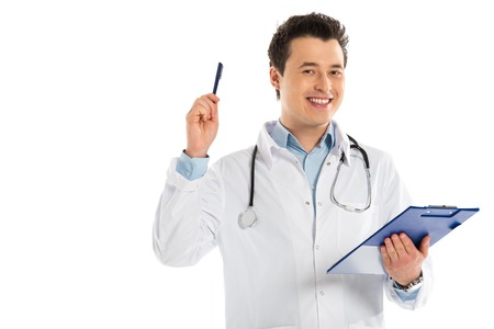 male doctor looking at camera, holding diagnosis and pointing with pen isolated on white