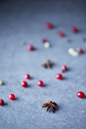 scattered cranberries and carnation on table in kitchen