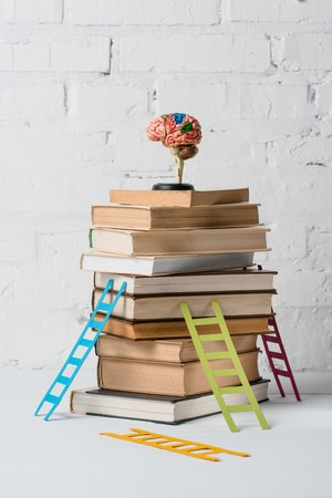 Gehirnmodell auf Bücherstapel und kleinen bunten Trittleitern