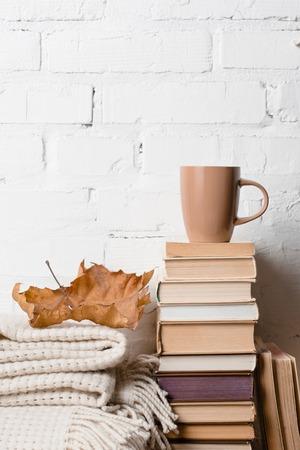 pila de libros, mantas, hojas secas de otoño y una taza de bebida caliente cerca de la pared de ladrillo blanco Foto de archivo