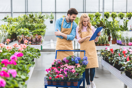 Smiling gardeners with clipboard filling order of flowers in greenhouse Фото со стока