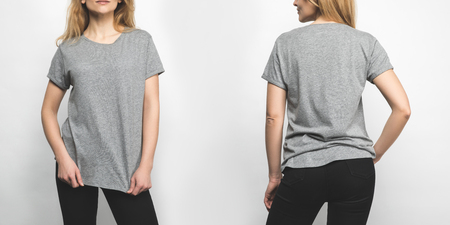 front and back view of young woman in blank grey t-shirt isolated on white Stok Fotoğraf