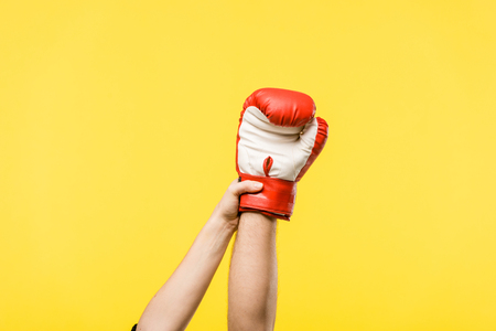 cropped shot of woman holding man hand in boxing glove isolated on yellow Standard-Bild