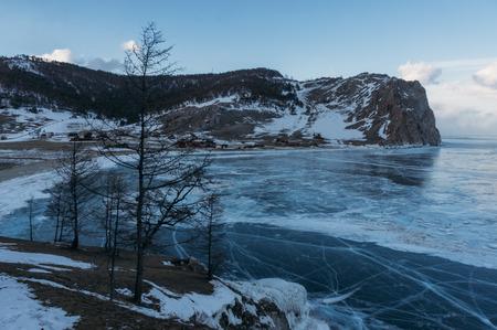 Frozen winter lake in scenic mountains, Russia, Lake Baikal