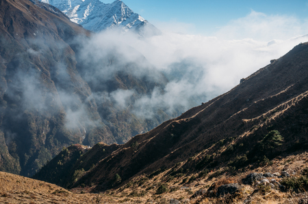 amazing snowy mountains landscape and clouds, Nepal, Sagarmatha, November 2014