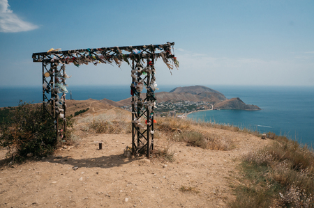Beautiful landscape with decorative arch in Crimean mountains and Black sea, Ukraine, May 2013 Stock fotó