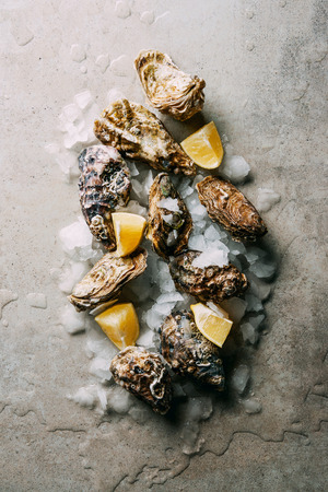 top view of arrangement of oysters with ice and lemon pieces on grey surface 写真素材
