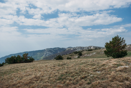 panoramic view of mountains, valley and cloudy sky, Ukraine, Crimea Stock fotó