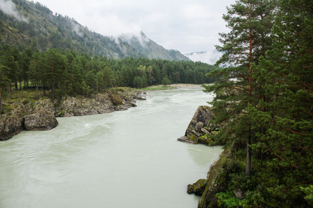 Mountain river in valley and majestic mountains, Altai, Russia