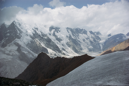 Amazing view of mountains landscape with snow, Russian Federation, Caucasus.