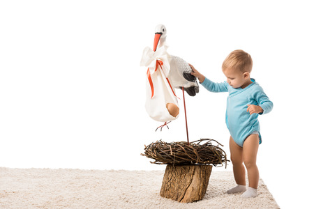 cute toddler boy in blue bodysuit standing on carpet and touching decorative stork isolated on white Stock Photo - 112748610