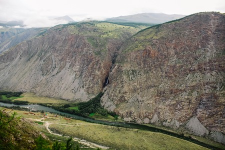 beautiful landscape with mountain valley and river, Altai, Russia 版權商用圖片