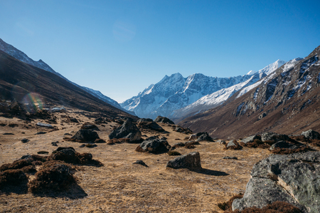 Rocky valley and mountains, Nepal, Sagarmatha.