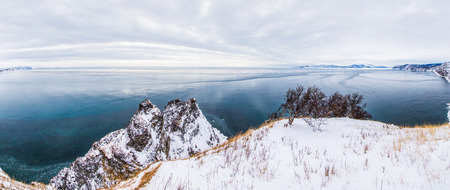 Beautiful landscape with shore and scenic frozen Sea of Okhotsk, Magadan, Russia