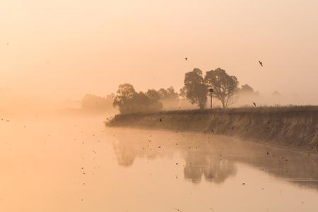 Beautiful landscape with lake and shore at misty sunrise, Polesie, Pripyat