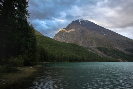 Mountain landscape with scenic valley and lake, Altai, Russia