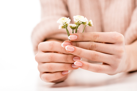 Cropped view of girl with natural manicure holding daisies, isolated on white 스톡 콘텐츠