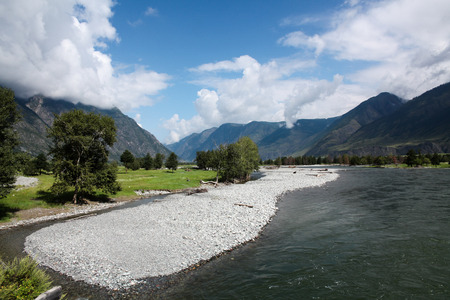 Beautiful landscape view of mountains and lake, Altai, Russia 版權商用圖片
