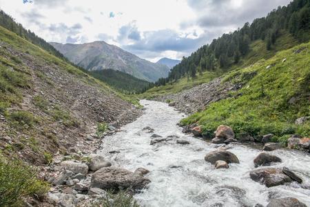 mountain landscape with scenic valley, Altai, Russia 版權商用圖片
