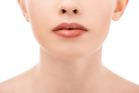 partial view of woman with beautiful lips, isolated on white Stock Photo