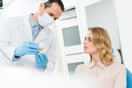 Doctor showing jaws model to female patient in modern dental clinic