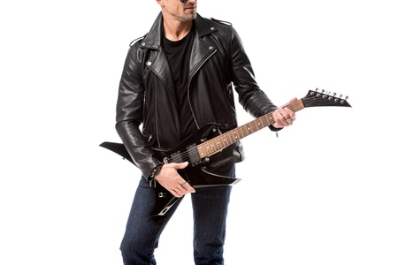 cropped view of adult man in leather jacket holding electric guitar isolated on white