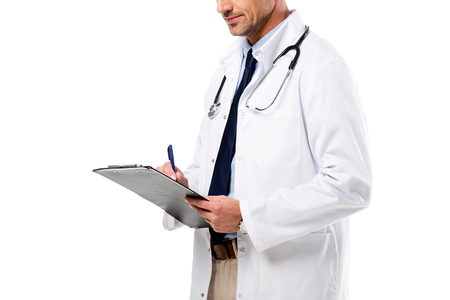 cropped view of doctor holding diagnosis and pen isolated on white