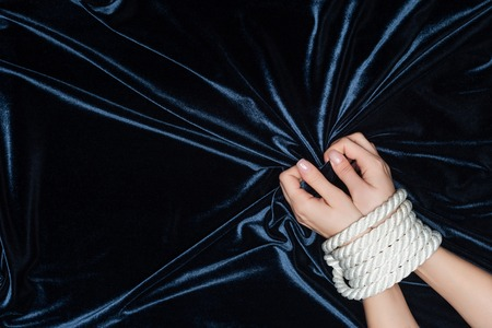 close up of female hands tightly bounded with rope Stok Fotoğraf