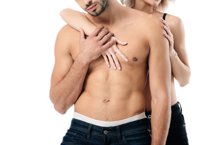 cropped view of woman embracing shirtless man isolated on white