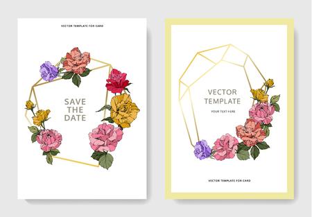 Vector White card rose flower. Wedding background card floral decorative border engraved ink art. Thank you, rsvp, invitation elegant card illustration graphic set banner. Фото со стока - 113075018