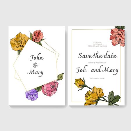 Vector White card rose flower. Wedding background card floral decorative border engraved ink art. Thank you, rsvp, invitation elegant card illustration graphic set banner. Фото со стока - 113075019
