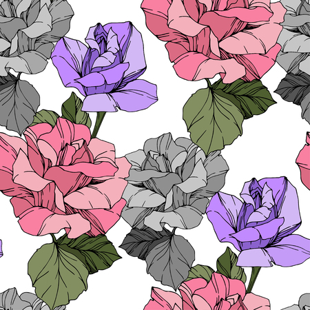 Beautiful vector rose. Floral botanical flower. Wild spring leaf. Pink and purple engraved ink art. Seamless background pattern. Fabric wallpaper print texture.