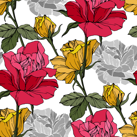 Beautiful vector rose. Floral botanical flower. Wild spring leaf. Red and yellow engraved ink art. Seamless background pattern. Fabric wallpaper print texture.
