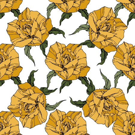 Beautiful vector rose. Floral botanical flower. Wild spring leaf. Yellow color engraved ink art. Seamless background pattern. Fabric wallpaper print texture. Ilustracja