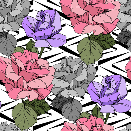 Beautiful vector rose. Floral botanical flower. Wild spring leaf. Pink and purple engraved ink art. Seamless background pattern. Fabric wallpaper print texture. Stockfoto - 113060323