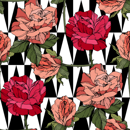 Beautiful vector rose. Floral botanical flower. Wild spring leaf. Coral and red engraved ink art. Seamless background pattern. Fabric wallpaper print texture.