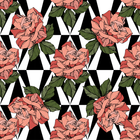 Beautiful vector rose. Floral botanical flower. Wild spring leaf. Coral color engraved ink art. Seamless background pattern. Fabric wallpaper print texture.