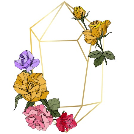 Vector Rose. Floral botanical flower. Wild spring leaf. Red, pink and yellow engraved ink art. Frame golden crystall. Geometric polygon crystal shape.