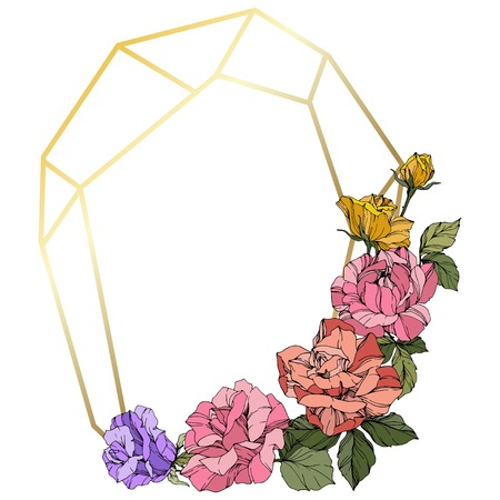 Vector Rose. Floral botanical flower. Wild spring leaf. Coral, pink and yellow engraved ink art. Frame golden crystall. Geometric polygon crystal shape. Illustration