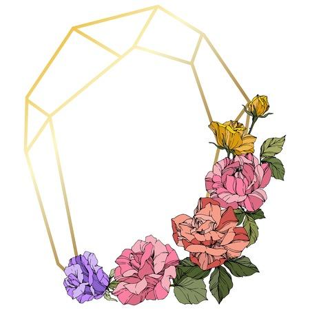 Vector Rose. Floral botanical flower. Wild spring leaf. Coral, pink and yellow engraved ink art. Frame golden crystall. Geometric polygon crystal shape. 일러스트