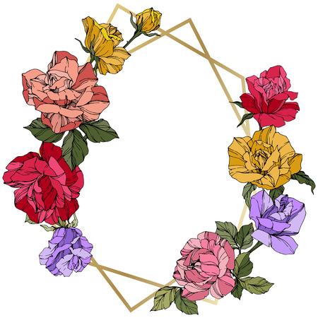 Vector Rose. Floral botanical flower. Wild spring leaf. Red, pink and yellow engraved ink art. Frame golden crystall. Geometric polygon crystal shape. Vetores