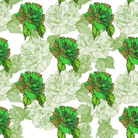 Beautiful vector rose. Floral botanical flower. Wild spring leaf. Green color engraved ink art. Seamless background pattern. Fabric wallpaper print texture. 向量圖像