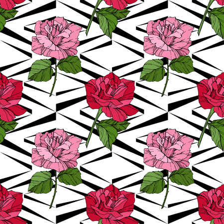 Beautiful vector rose. Floral botanical flower. Wild spring leaf. Red color engraved ink art. Seamless background pattern. Fabric wallpaper print texture.