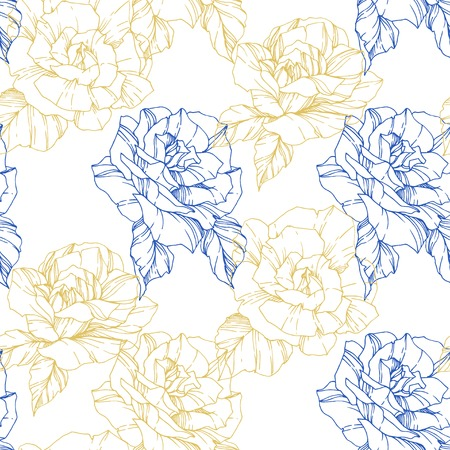 Beautiful vector rose. Floral botanical flower. Wild spring leaf. Golden and blue color engraved ink art. Seamless background pattern. Fabric wallpaper print texture.