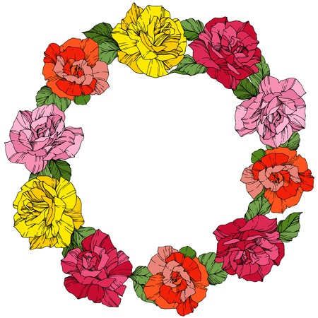 Vector Rose. Floral botanical flower. Wild spring leaf. Red, pink and yellow engraved ink art. Frame border ornament wreath. Illustration