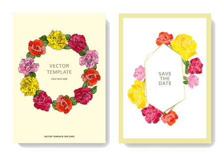 Vector White card rose flower. Wedding background card floral decorative border engraved ink art. Thank you, rsvp, invitation elegant card illustration graphic set banner. Фото со стока - 113075035