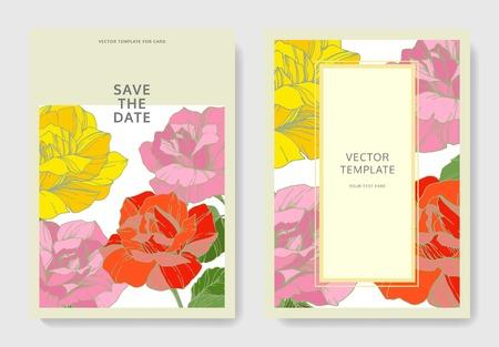 Vector White card rose flower. Wedding background card floral decorative border engraved ink art. Thank you, rsvp, invitation elegant card illustration graphic set banner. Illustration