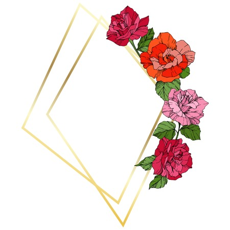 Vector Rose. Floral botanical flower. Wild spring leaf. Orange, pink and yellow engraved ink art. Frame golden crystall. Geometric polygon crystal shape.