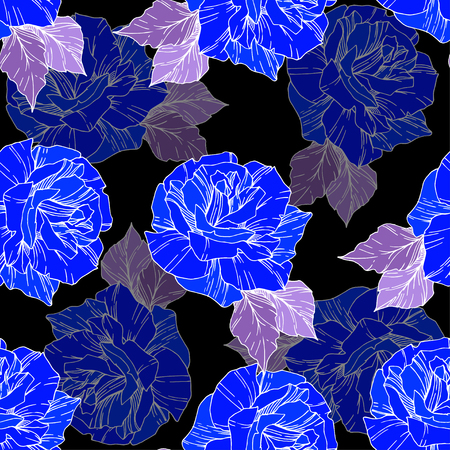 Beautiful vector rose. Floral botanical flower. Wild spring leaf. Blue engraved ink art. Seamless background pattern. Fabric wallpaper print texture.